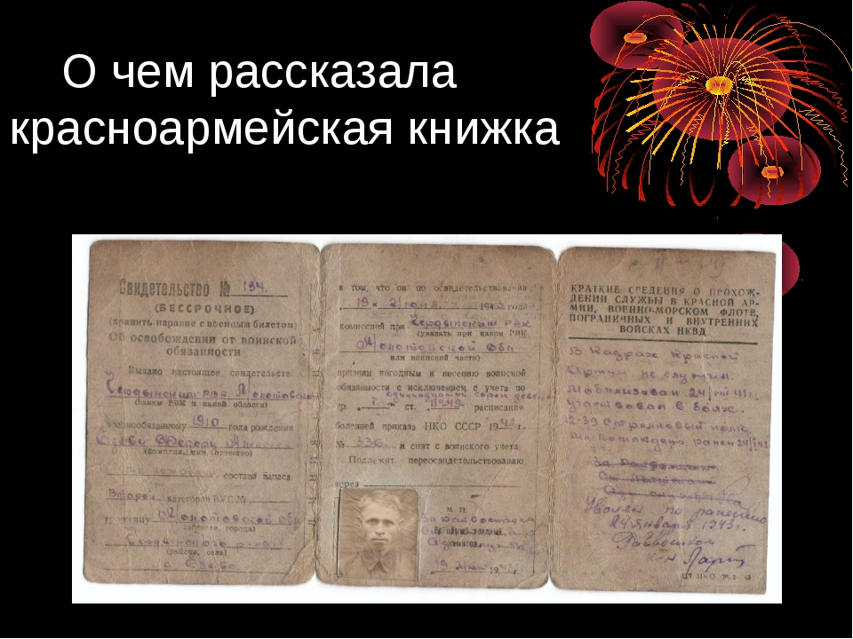 О чем рассказала красноармейская книжка Езов Федор Алексеевич 1910-1966