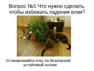 Вопрос №1 Что нужно сделать, чтобы избежать падения елки? Устанавливайте елку