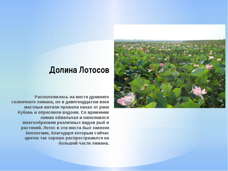 Долина Лотосов Расположилась на месте древнего солнечного лимана, но в девятн...
