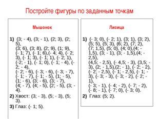 Постройте фигуры по заданным точкам Мышонок  1) (3; - 4), (3; - 1), (2; 3),