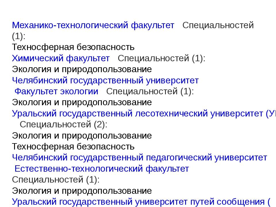 Механико-технологический факультет  Специальностей (1): Техносферная безопа...