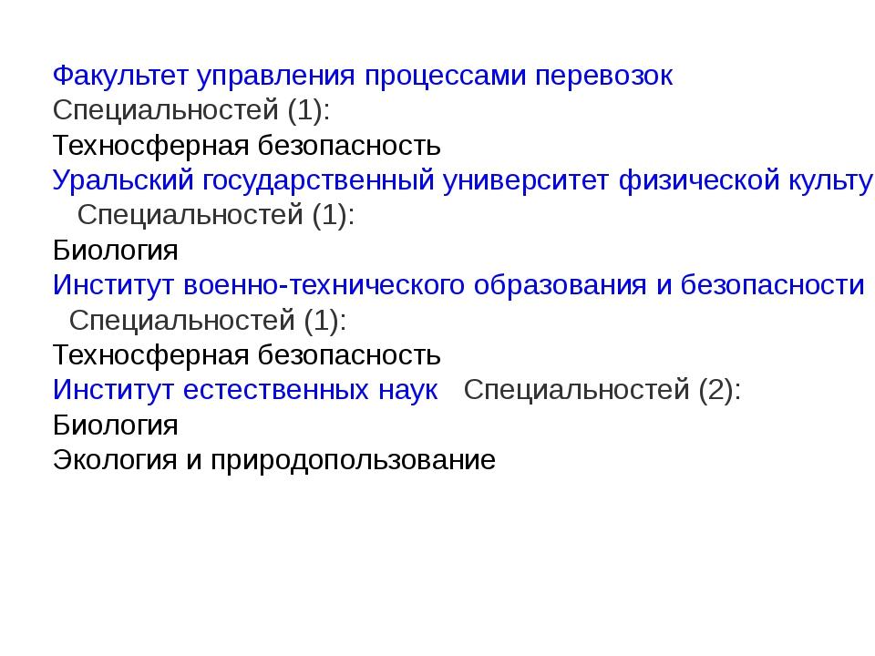Факультет управления процессами перевозок  Специальностей (1): Техносферная...