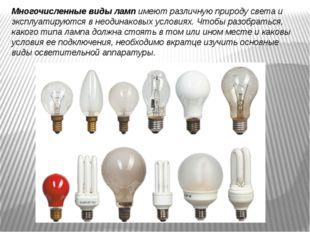 Многочисленные виды ламп имеют различную природу света и эксплуатируются в не