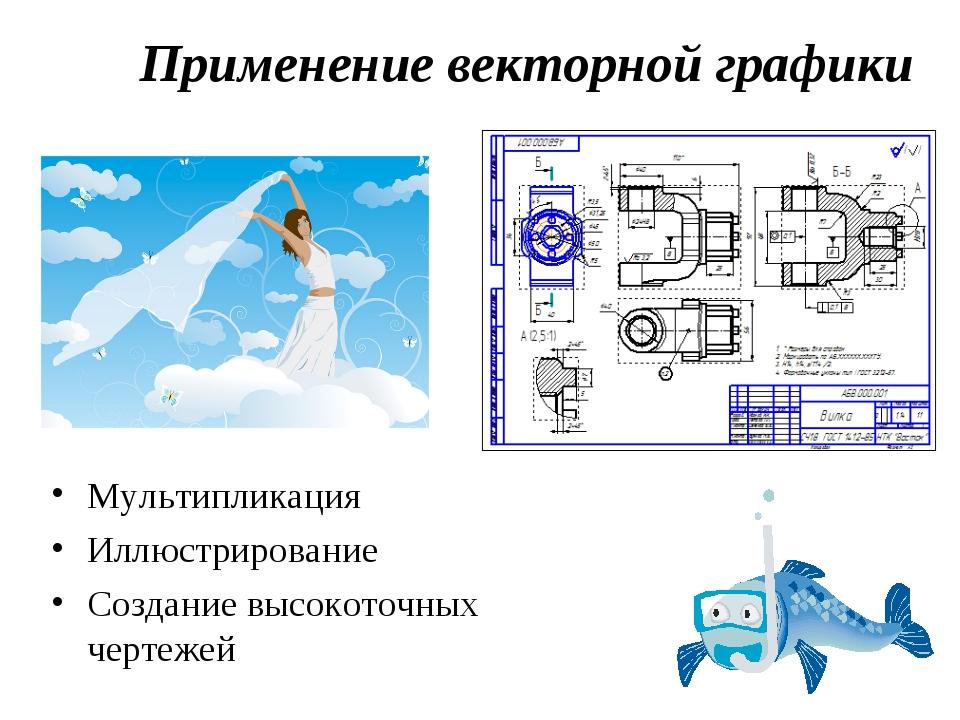 Мультипликация Иллюстрирование Создание высокоточных чертежей Применение вект...