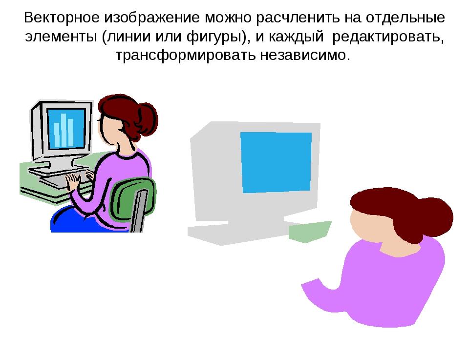 Векторное изображение можно расчленить на отдельные элементы (линии или фигур...