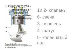 1и 2- клапаны 6- свеча 3- поршень 4 -шатун 5- коленчатый вал