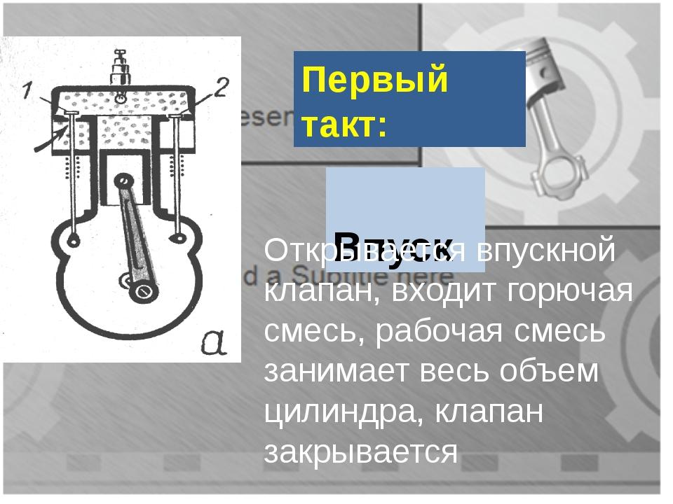 Первый такт: Впуск Открывается впускной клапан, входит горючая смесь, рабочая...