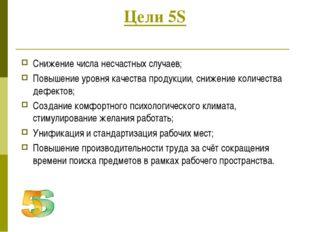 Цели 5S Снижение числа несчастных случаев; Повышение уровня качества продукци