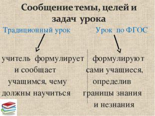 Традиционный урок Урок по ФГОС учитель формулирует формулируют и сообщает са
