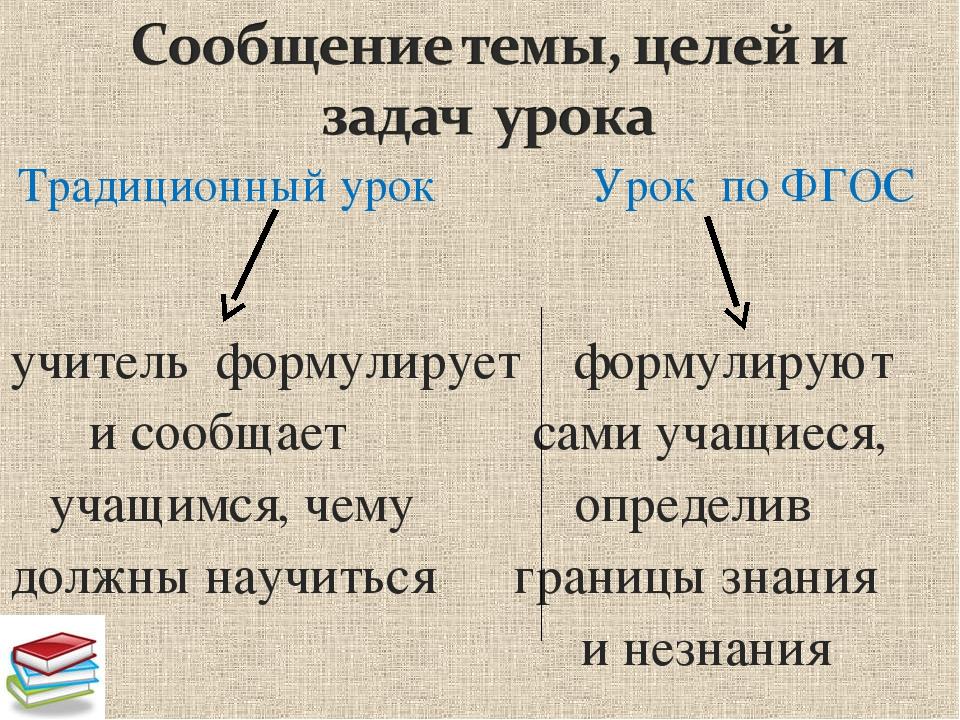 Традиционный урок Урок по ФГОС учитель формулирует формулируют и сообщает са...