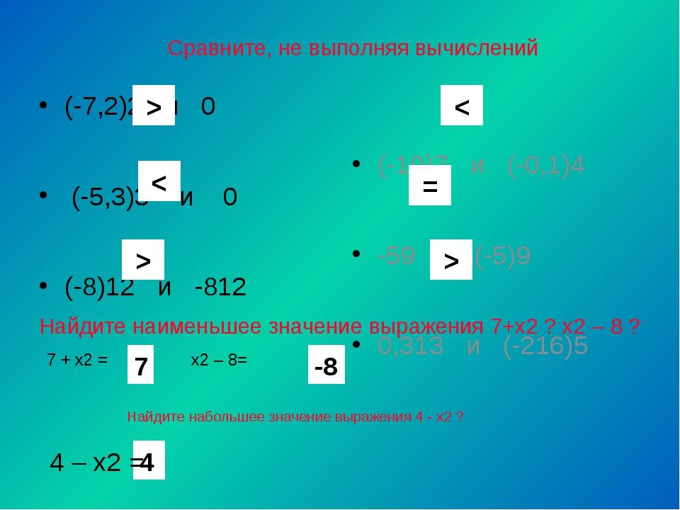 Сравните, не выполняя вычислений (-7,2)2 и 0 (-5,3)3 и 0 (-8)12 и -812 (-10)7...