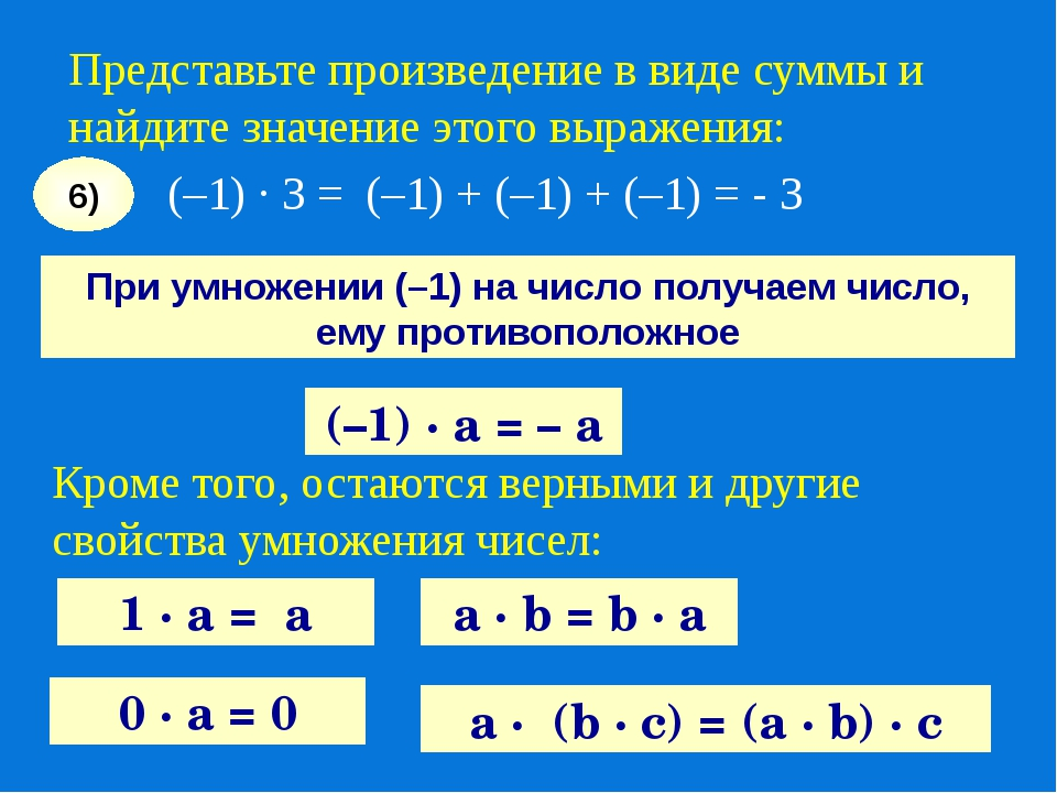(–1) · 3 = (–1) + (–1) + (–1) = - 3 6) (–1) · а = – а При умножении (–1) на ч...