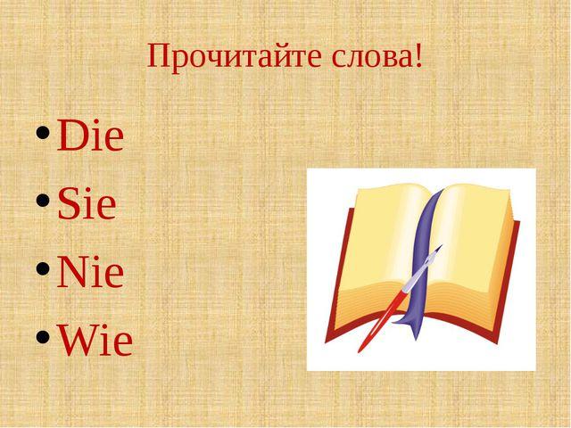 Прочитайте слова! Die Sie Nie Wie