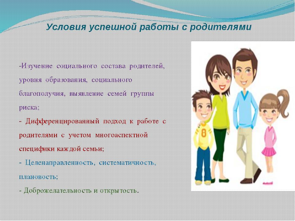 Условия успешной работы с родителями -Изучение социального состава родителей,...