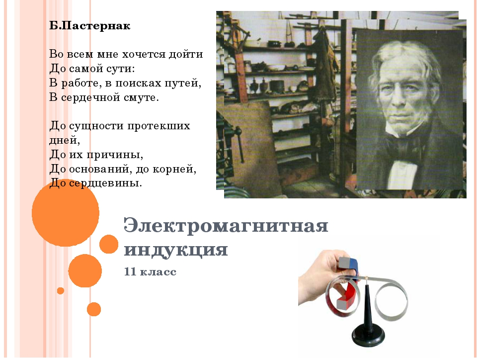 Электромагнитная индукция 11 класс Б.Пастернак Во всем мне хочется дойти До с...
