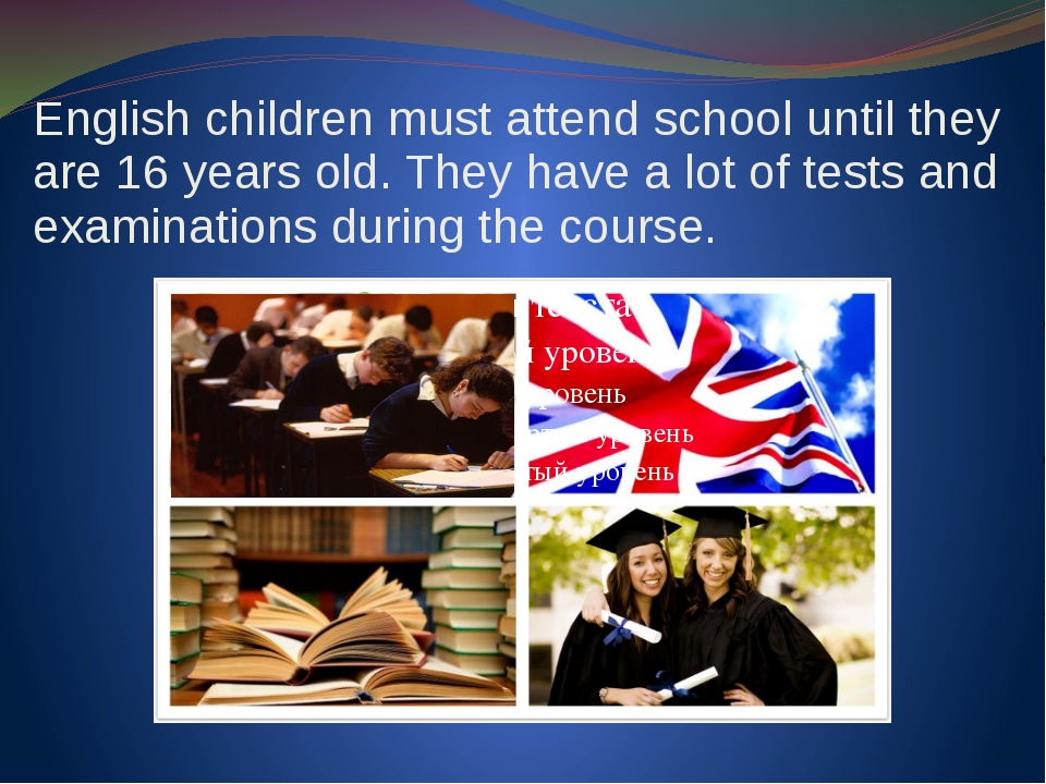English children must attend school until they are 16 years old. They have a...