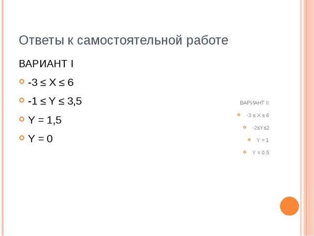Ответы к самостоятельной работе ВАРИАНТ I -3 ≤ X ≤ 6 -1 ≤ Y ≤ 3,5 Y = 1,5 Y =...