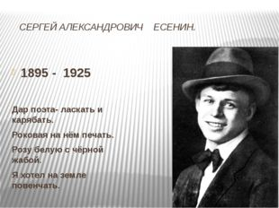 СЕРГЕЙ АЛЕКСАНДРОВИЧ ЕСЕНИН. 1895 - 1925 Дар поэта- ласкать и карябать. Роко