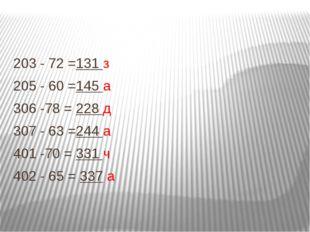 203 - 72 =131 з 205 - 60 =145 а 306 -78 = 228 д 307 - 63 =244 а 401 -70 = 331