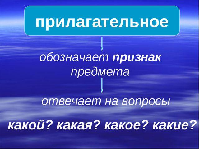 прилагательное обозначает признак предмета отвечает на вопросы какой? какая?...