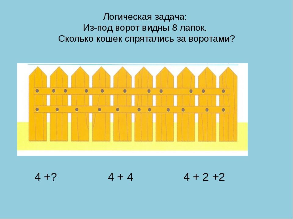 Логическая задача: Из-под ворот видны 8 лапок. Сколько кошек спрятались за во...