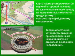 Карта-схема разворачивается верхней стороной на север. На шкале положенного с