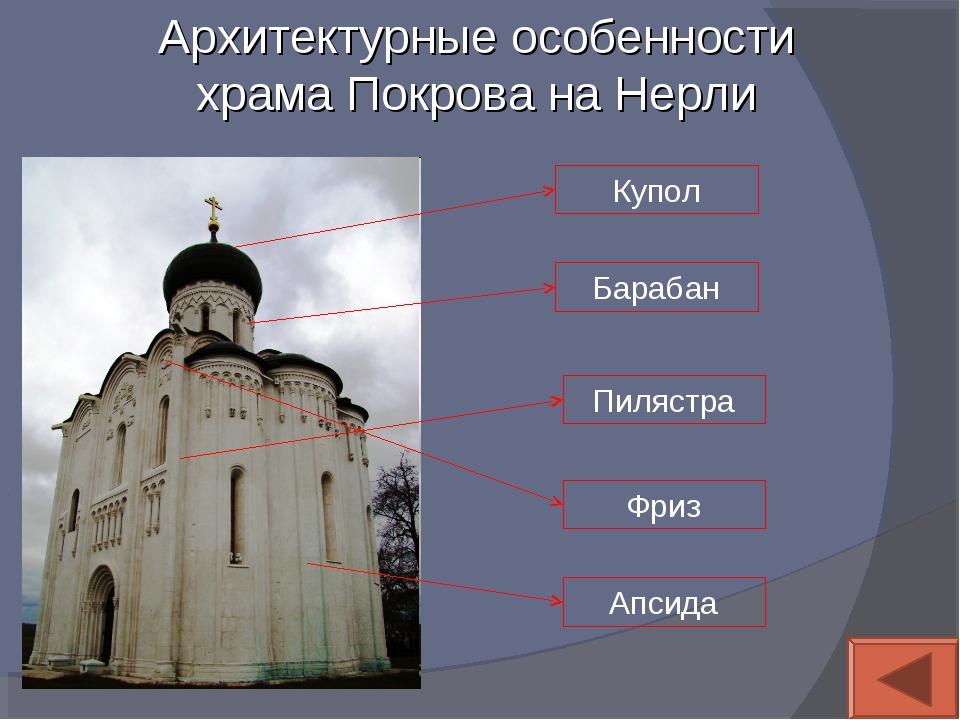 Архитектурные особенности храма Покрова на Нерли Купол Барабан Пилястра Фриз...