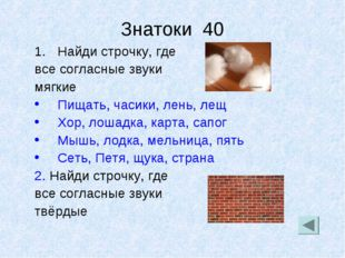 Знатоки 40 Найди строчку, где все согласные звуки мягкие Пищать, часики, лень
