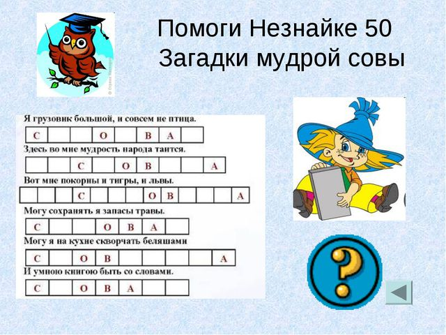 Помоги Незнайке 50 Загадки мудрой совы