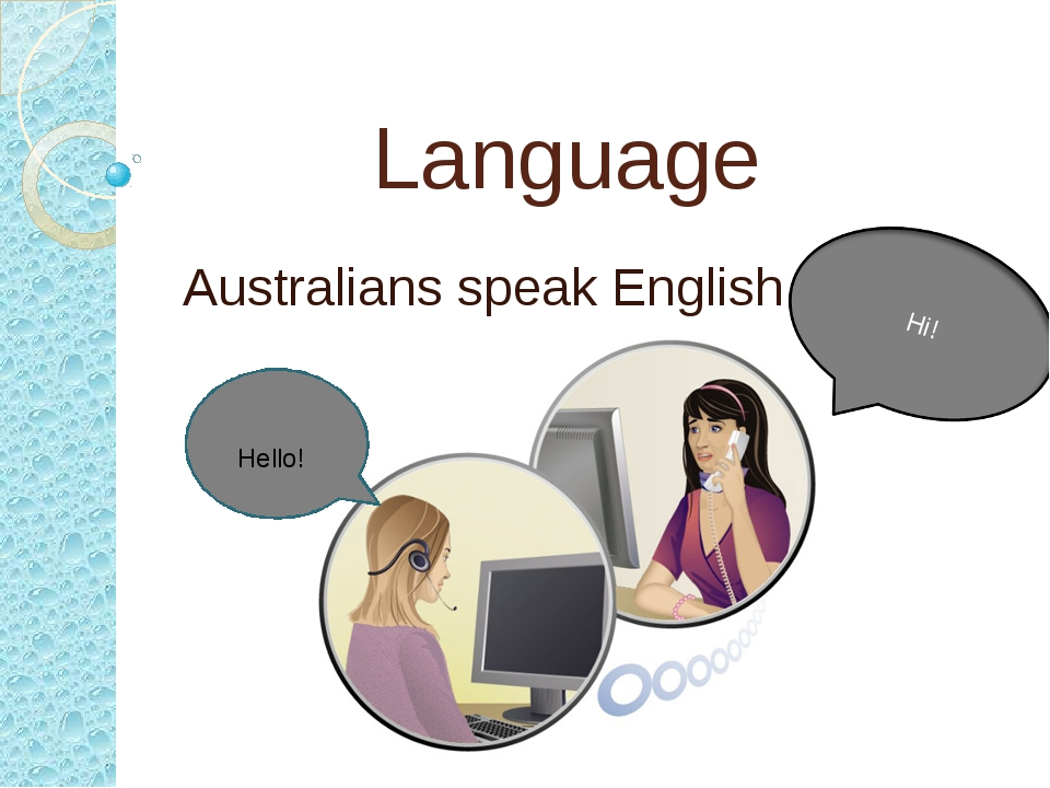 Language Australians speak English. Hello! Hi!
