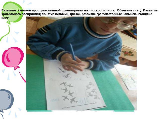 Развитие навыков пространственной ориентировки на плоскости листа. Обучение с...