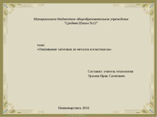 """Муниципальное бюджетное общеобразовательное учреждение """"Средняя Школа №12"""" те"""