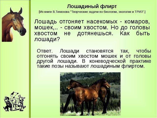 """Лошадиный флирт [Из книги В.Тимохова """"Творческие задачи по биологии, экологи..."""