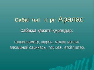 Сабақтың түрі: Аралас Сабаққа қажетті құралдар: гальвонометр, шарғы, жолақ ма