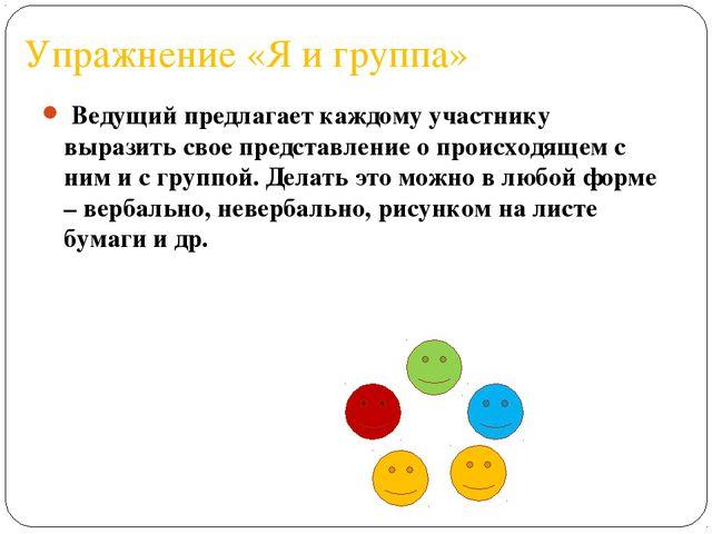 Упражнение «Я и группа» Ведущий предлагает каждому участнику выразить свое пр...