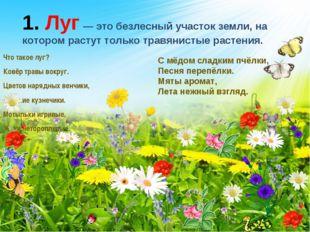 Что такое луг? Ковёр травы вокруг. Цветов нарядных венчики, Звонкие кузнечики
