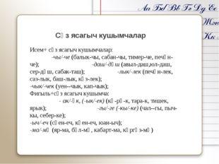 Сүз ясагыч кушымчалар Исем+ сүз ясагыч кушымчалар: -чы/-че (балык-чы, сабан-ч