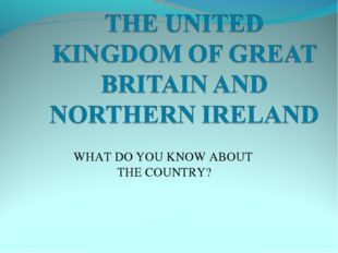 WHAT DO YOU KNOW ABOUT THE COUNTRY?