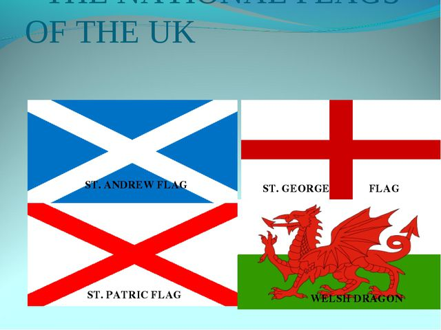 THE NATIONAL FLAGS OF THE UK ST. ANDREW FLAG ST. GEORGE FLAG ST. PATRIC FLAG...