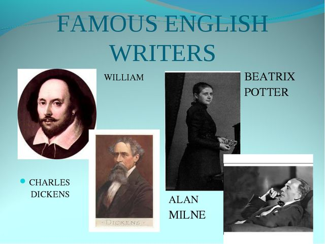 FAMOUS ENGLISH WRITERS WILLIAM SHAKESPEARE SHAKESPEARE CHARLES DICKENS BEATRI...