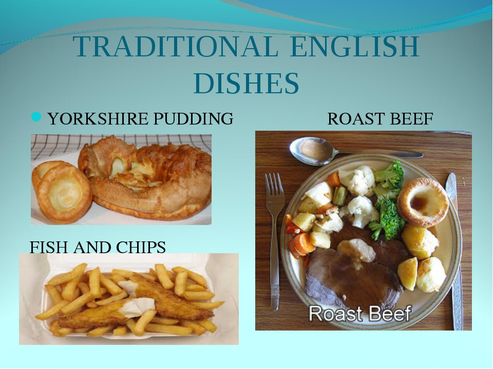 TRADITIONAL ENGLISH DISHES YORKSHIRE PUDDING ROAST BEEF FISH AND CHIPS