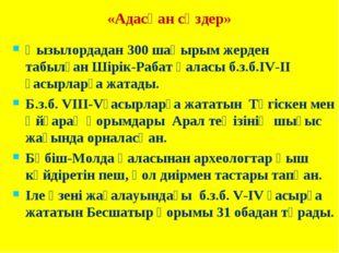 «Адасқан сөздер» Қызылордадан 300 шақырым жерден табылған Шірік-Рабат қаласы