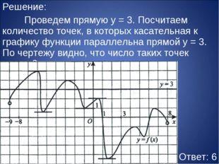 Решение: Проведем прямую y = 3. Посчитаем количество точек, в которых касате