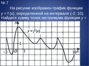 № 7 На рисунке изображен график функции y = f (x), определенной на интервале