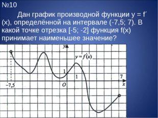 №10 Дан график производной функции y = f´ (x), определённой на интервале (-7