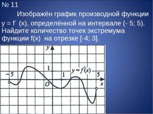 № 11 Изображён график производной функции y = f´ (x), определённой на интерв