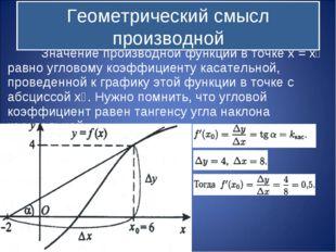 Значение производной функции в точке x = x˳ равно угловому коэффициенту каса