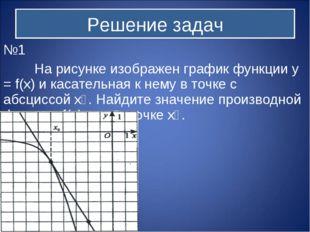 №1 На рисунке изображен график функции y = f(x) и касательная к нему в точке