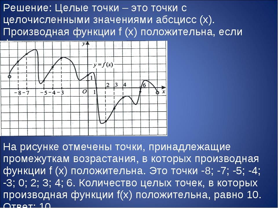 Решение: Целые точки – это точки с целочисленными значениями абсцисс (x). Про...
