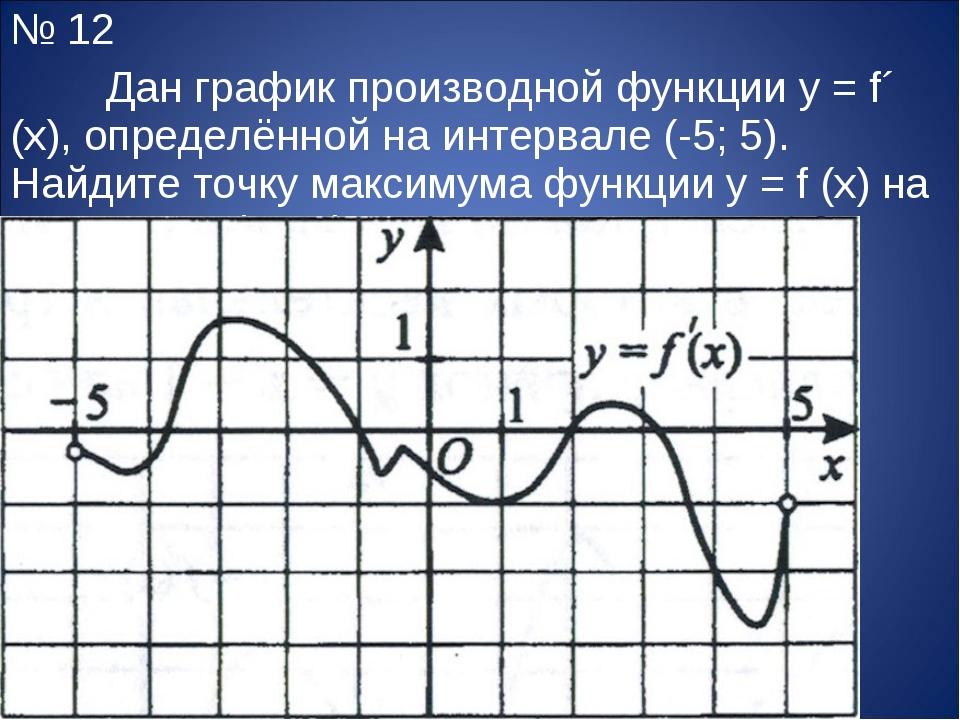 № 12 Дан график производной функции y = f´ (x), определённой на интервале (-...